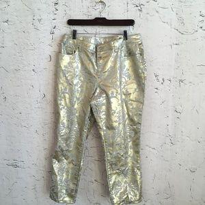 BOSTON PROPER GOLD FLORAL PANTS 12
